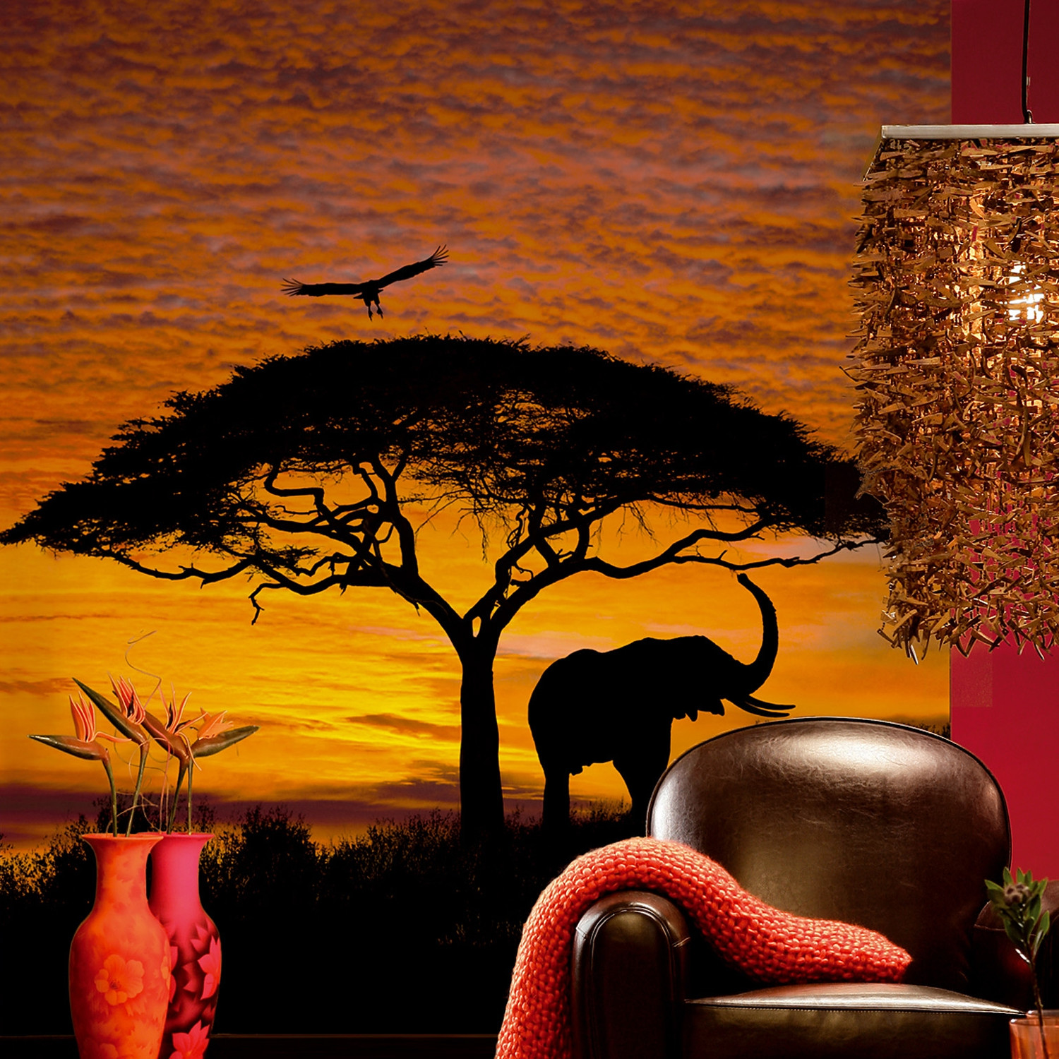 Mid size wall murals for African sunset wall mural