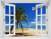 African Beach Window 1-Piece Peel & Stick Mural