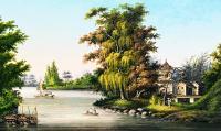 Asian Water Scene Mural RA0182M