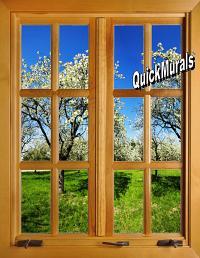 Apple Blossom Window (closed) 1-Piece Peel & Stick Wall Mural